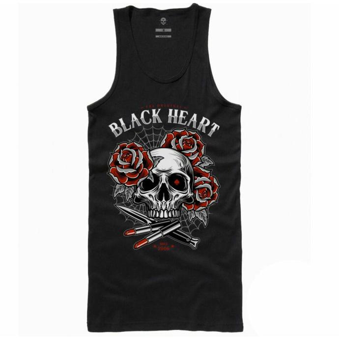 Damen Tanktop BLACK HEART - LIPSTICK SKULL - SCHWARZ