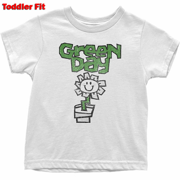 Kinder T-Shirt Green Day - Flower - WHT