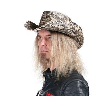 Hut WORNSTAR - Hellrider HS Black & Natural Rocker Cowboy, WORNSTAR