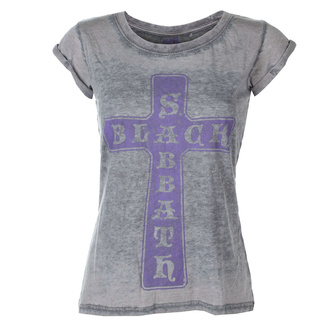 Damen T-Shirt Metal Black Sabbath - Vintage Cross - ROCK OFF, ROCK OFF, Black Sabbath
