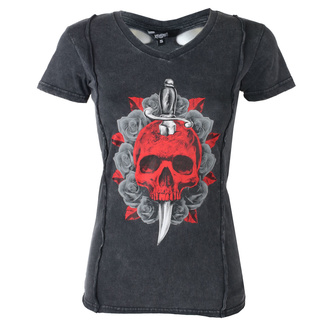 Damen T-Shirt Hardcore - ANGEL RED DAGGER SKULL - LETHAL THREAT, LETHAL THREAT