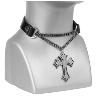 Halskette/ Halsband Kreuz, Leather & Steel Fashion