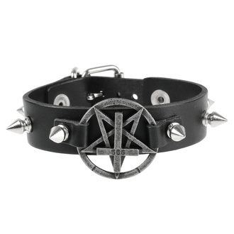 Armband Pentagramm, Leather & Steel Fashion