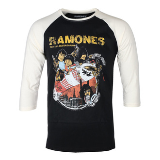 Herren 3/4 Arm Shirt RAMONES - ROCKET CARTOON - SCHWARZ / ECRU RAGLAN - GOT TO HAVE IT, GOT TO HAVE IT, Ramones