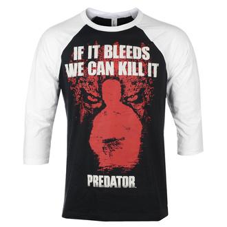 Herren 3/4 Arm Shirt Predator - If It Bleeds - Baseball - Weiß schwarz - HYBRIS, HYBRIS, Predator