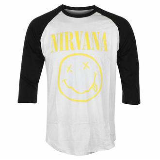 Herren 3/4 Arm Shirt Nirvana - Yellow Smiley - Wht/BL Raglan - ROCK OFF, ROCK OFF, Nirvana