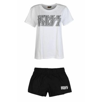 Damen Pyjama-Set Kiss - Logo Infill Schwarz/Weiß, ROCK OFF, Kiss
