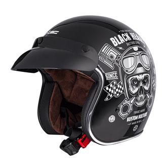Helm BLACK HEART - PISTON SKULL - SCHWARZ, BLACK HEART