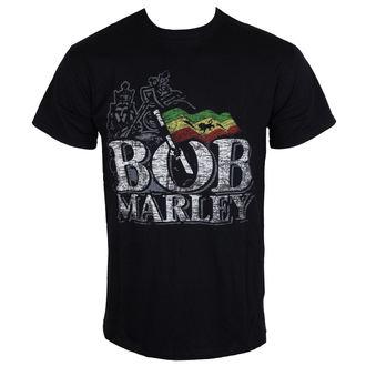 Herren T-Shirt   Bob Marley - Distressed Logo - Black - ROCK OFF, ROCK OFF, Bob Marley