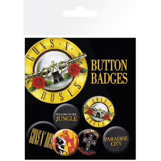 Button Badge Set Guns´n Roses - Lyrics And Logos, GB posters, Guns N' Roses