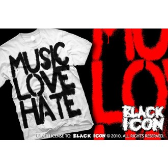 Herren T-Shirt BLACK ICON - Music, Love - White, BLACK ICON