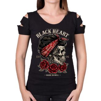 Damen T-Shirt Street - PIN UP SKULL DESTROY - BLACK HEART, BLACK HEART