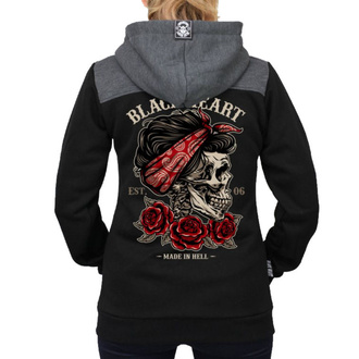 Damen Hoodie - PIN UP SKULL RG - BLACK HEART, BLACK HEART