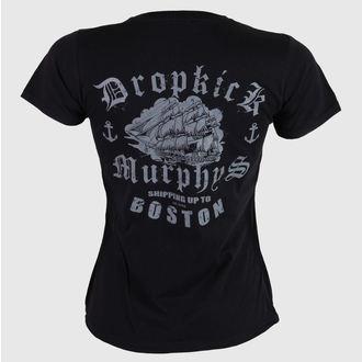 Damen T-Shirt  Dropkick Murphys - Jolly Roger - Fitted - Black - KINGS ROAD, KINGS ROAD, Dropkick Murphys