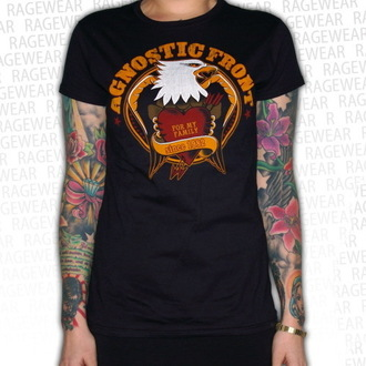 Damen T-Shirt Agnostic Front - Old School Heart - Black- RAGEWEAR, RAGEWEAR, Agnostic Front
