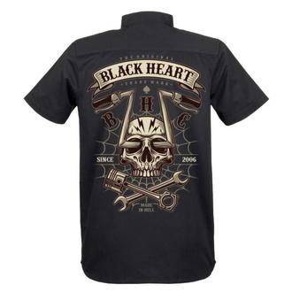 Herren Hemd BLACK HEART - CHOPPER SKULL - SCHWARZ, BLACK HEART