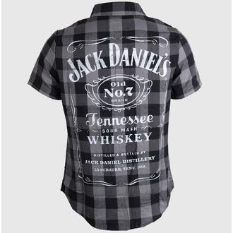 Herren Kurzarmhemd Jack Daniels - Checks - Black/Grey - TS633014JDS