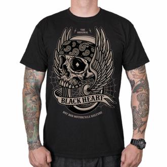 Herren T-Shirt BLACK HEART - WINGS SKULL - SCHWARZ, BLACK HEART
