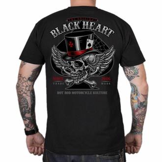 Herren T-Shirt BLACK HEART - HAT SKULL - SCHWARZ, BLACK HEART