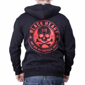 Herren Hoodie BLACK HEART - RED SKULL - SCHWARZ, BLACK HEART