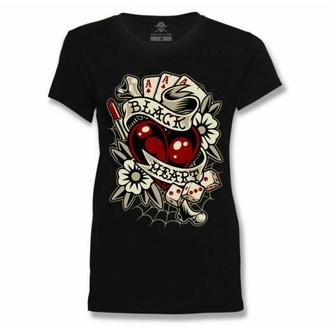 Damen T-Shirt BLACK HEART - Rockabilly HERZ - SCHWARZ, BLACK HEART