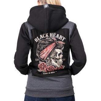 Damen Hoodie BLACK HEART - PIN UP SKULL, BLACK HEART