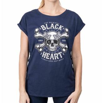 Damen T-Shirt BLACK HEART - DEAD PIN UP - BLAU, BLACK HEART