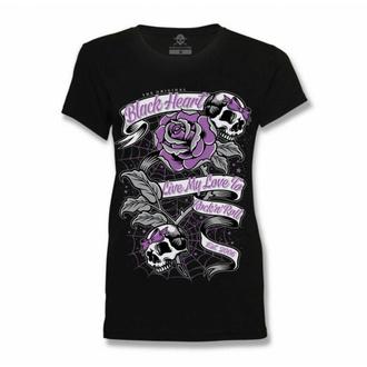 Damen T-Shirt BLACK HEART - RIBBON ROSE - SCHWARZ, BLACK HEART