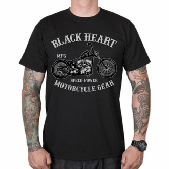 Herren T-Shirt BLACK HEART - CHOPPER - SCHWARZ, BLACK HEART