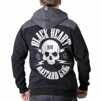 Herren Hoodie BLACK HEART - BASTARD SKULL - SCHWARZ, BLACK HEART