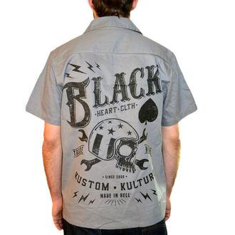 Herrenhemd  BLACK HEART - Wrench Skull - Black, BLACK HEART