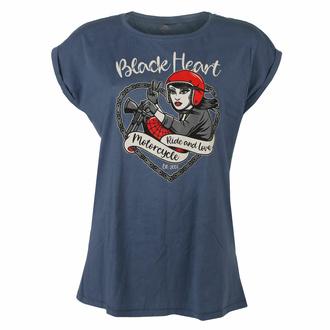 Damen T-Shirt BLACK HEART - BIKE GIRL - BLAU, BLACK HEART