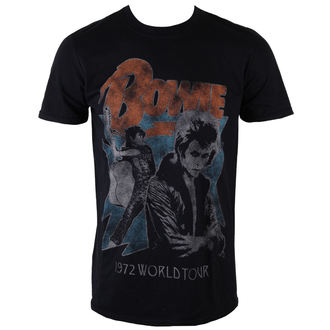 Männer Shirt David Bowie - 1972 World Tour - Black - ROCK OFF, ROCK OFF, David Bowie