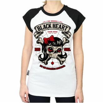 Damen T-Shirt BLACK HEART - LADY LUCK - WEISS, BLACK HEART