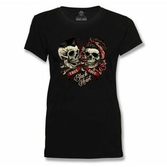 Damen T-Shirt BLACK HEART - TRUE LOVE - SCHWARZ, BLACK HEART