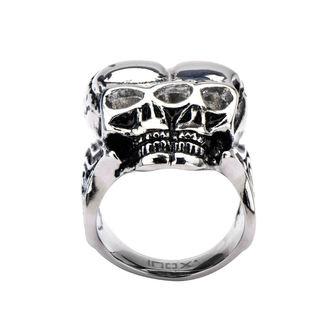 Ring INOX - BLK CONJOIND TWN SKUL, INOX