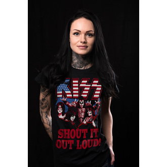 Damen T-Shirt Metal Kiss - Shout It Out Loud - HYBRIS, HYBRIS, Kiss