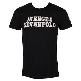 Herren T-Shirt Metal Avenged Sevenfold - Logo & Deathbat Applique - ROCK OFF, ROCK OFF, Avenged Sevenfold