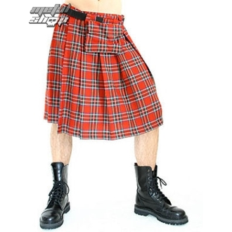 Kilt Men Black Pistol - Short Kilt Tartan Red, BLACK PISTOL