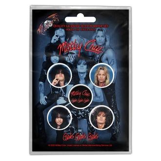 Buttons Mötley Crüe - Girls, Girls, Girls, RAZAMATAZ, Mötley Crüe
