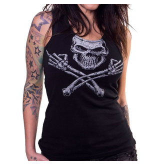 Damen Tanktop LETHAL THREAT - ANGEL MIDDLE FINGER SKULL - SCHWARZ, LETHAL THREAT