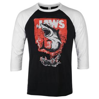 Herren 3/4 Arm Shirt Jaws - Shark Smoke - Baseball - Weiß schwarz - HYBRIS, HYBRIS, Der weiße Hai