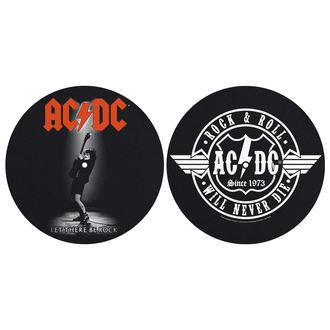 Grammophonmatte (Set mit 2 Stück) AC / DC - LET THERE BE ROCK! ROCK AND ROLL - RAZAMATAZ, RAZAMATAZ, AC-DC