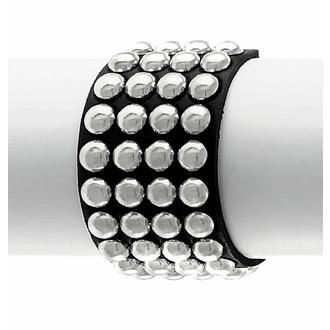 Armband SCHWARZE SCHLANGE RUND mit 4 Reihen, Leather & Steel Fashion