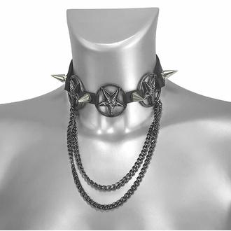 Halsband (Schuhaccessoire) Dreifache Kette Baphomet, Leather & Steel Fashion