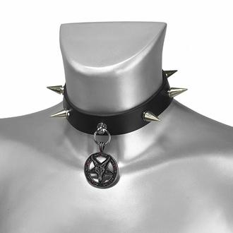 Halsband BAPHOMET ROTES KRISTALL mit NIETEN und LEDER, Leather & Steel Fashion