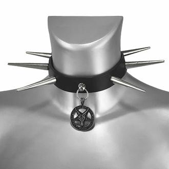 Halsband BAPHOMET ROTES KRISTALL mit GROSSEN NIETEN, Leather & Steel Fashion