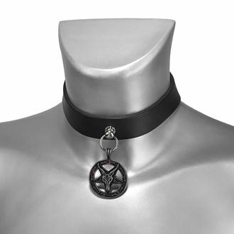 Halsband (Schuhaccessoire) BAPHOMET ROTES KRISTALL und LEDER, Leather & Steel Fashion