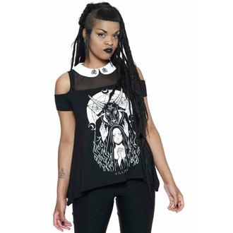 Damen-T-Shirt KILLSTAR - Nunsense Collar Cold Shoulder Top - Schwarz, KILLSTAR