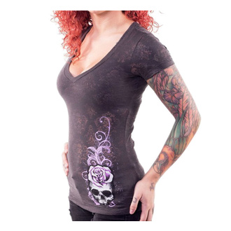 Damen T-Shirt Hardcore - CORSET WINGED SKULL - LETHAL THREAT, LETHAL THREAT